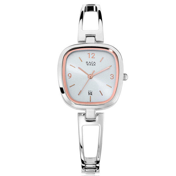 ( 2 YEARS WARRANTY ) TITAN RAGA VIVA NL2604SM01 Women Analog Classic Design Silver Stainless Steel Strap Original Casual Watch Malaysia