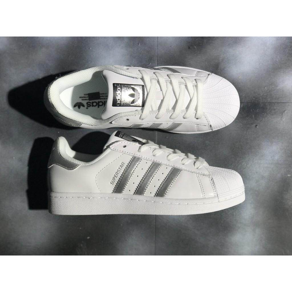 4d426fbe8 adidas original superstar junior white silver men women skateboard shoe 36- 44