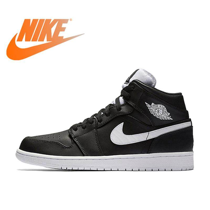 f8f2dccd9d47 NIKE Air Jordan 1 MID AJ1 Breathable Men s Basketball Shoes Sports Sneakers  Medium Cut Mens Sneakers
