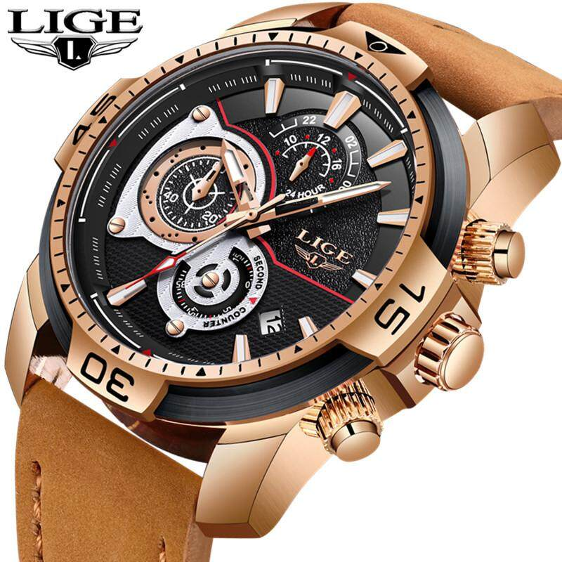 LIGE Top Brand Luxury Men's Watches Fashion Quartz Business Watch Men Lerther Casual Waterproof Military Sports Watch Malaysia