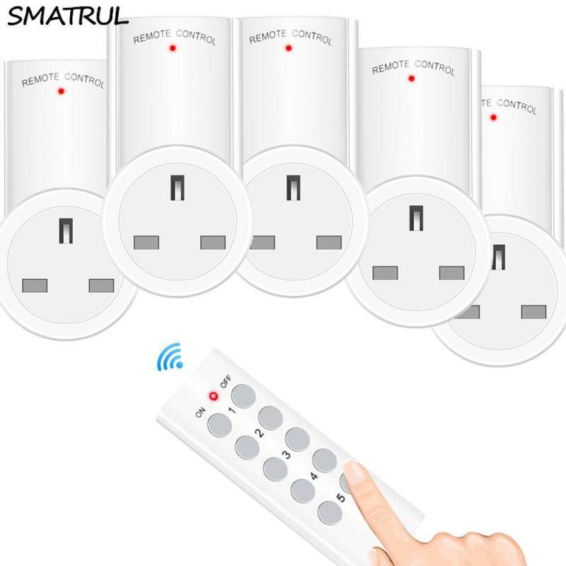 SMATRUL Wireless smart Remote Control Socket  Timer Plug wall Programmable Electrical UK Plug Outlet Switch 220v 230v LED Lights 1 Controller 5 Socket