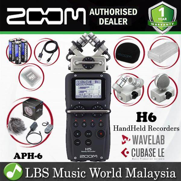 Zoom H6 Handy Recorder Field Recording Mic System and APH-6 Pack (H6N H 6)