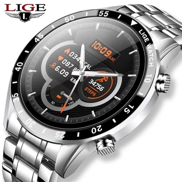 LIGE 2020 New Smart Watch Men Full Touch Screen Sports Fitness Watch IP68 Waterproof Bluetooth For Android ios Jam Tangan Lelaki Malaysia