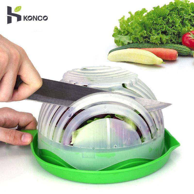 Konco Upgrade Salad Cutter Bowl For Salad Made Easy Salad Maker Bowl Quick Safe Fruit & Vegetable Chopped Cutting Tools Kitchen Gadget By Konco.