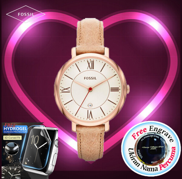 [FREE ENGRAVE]Original Fossil Womens Jacqueline Sand Leather 36mm Watch ES3487 Malaysia