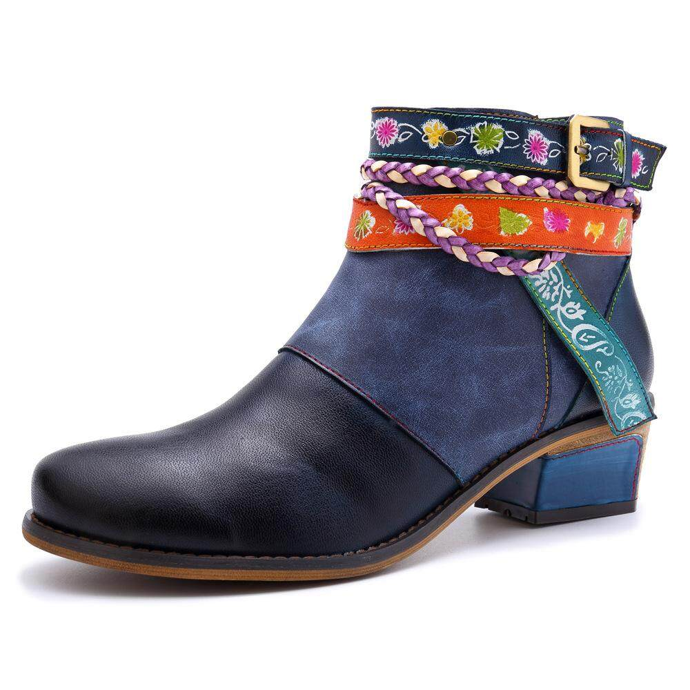 Vintage 2019 New Genuine Leather Women Boots Ankle Strap Zipper Bohemia Ladies  Shoes Woman Flower Boot 62c9caf9fa