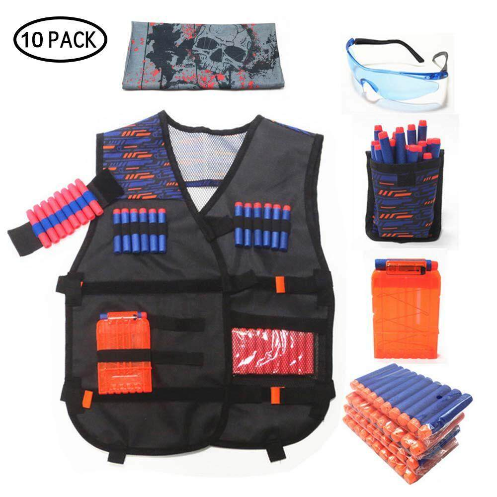 Niceeshop 10 Pack Tactical Nerf Vest Accessories Set For Nerf N-Strike Elite Series With Refill Darts, Dart Pouch, Reload Clips, Tactical Mask, Wrist Band And Protective Glasses For Kids By Nicee Shop.