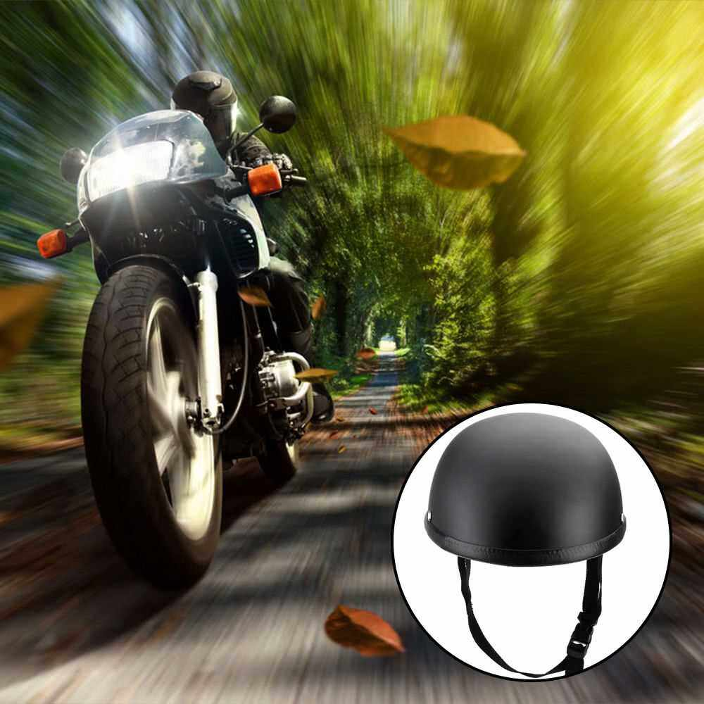 Motorcycle Half Open Face Helmet Matt Black Protection Shell Helmet for Scooter Bike (Black)