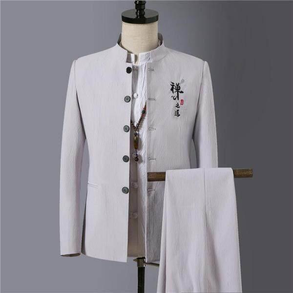 Loldeal áo vest nam cổ đứng thanh lịch trang phục thêu và quần dài đậm chất Trung Hoa cổ điển - INTL