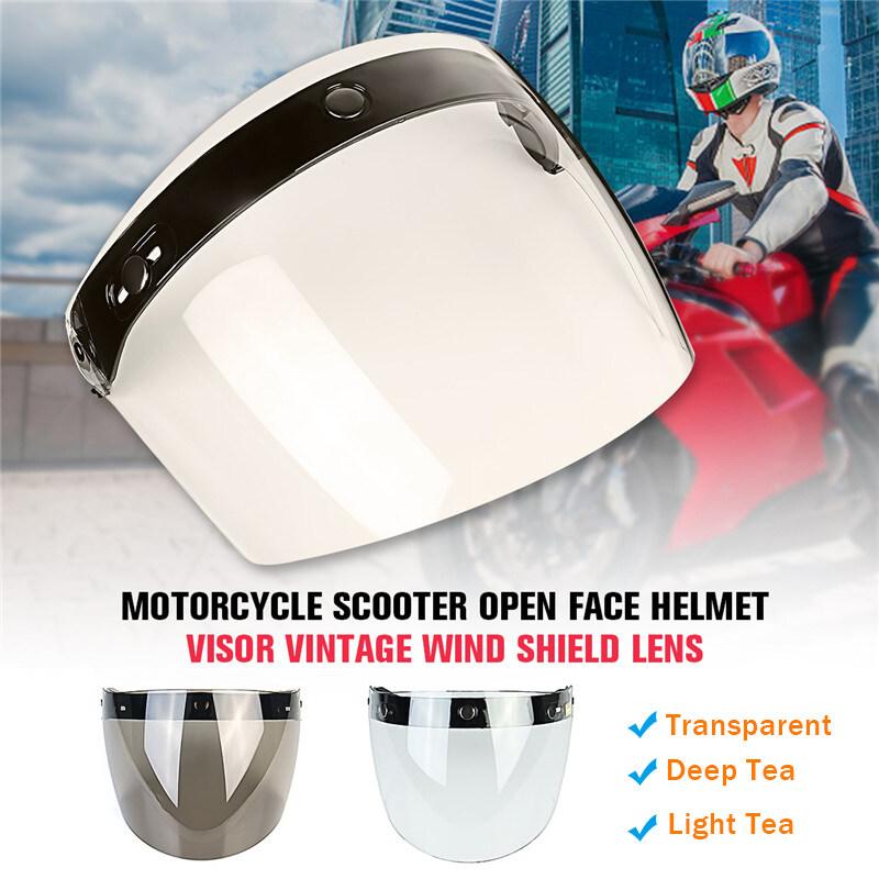 3-Snap Motorcycle Helmets Bubble Face Mask Wind Shield Lens Visor