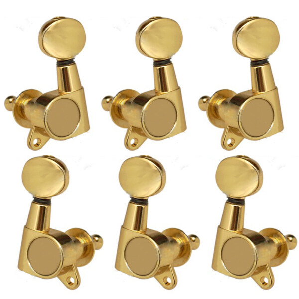 6 Pieces Guitar String Tuning Key Pegs/Machine Head Knobs(for Left and Right) with Ferrules,Threaded Bushings,Mount Screws for Electric or Acoustic Guitar,Made of Zinc Alloy Metal(Gold) Malaysia