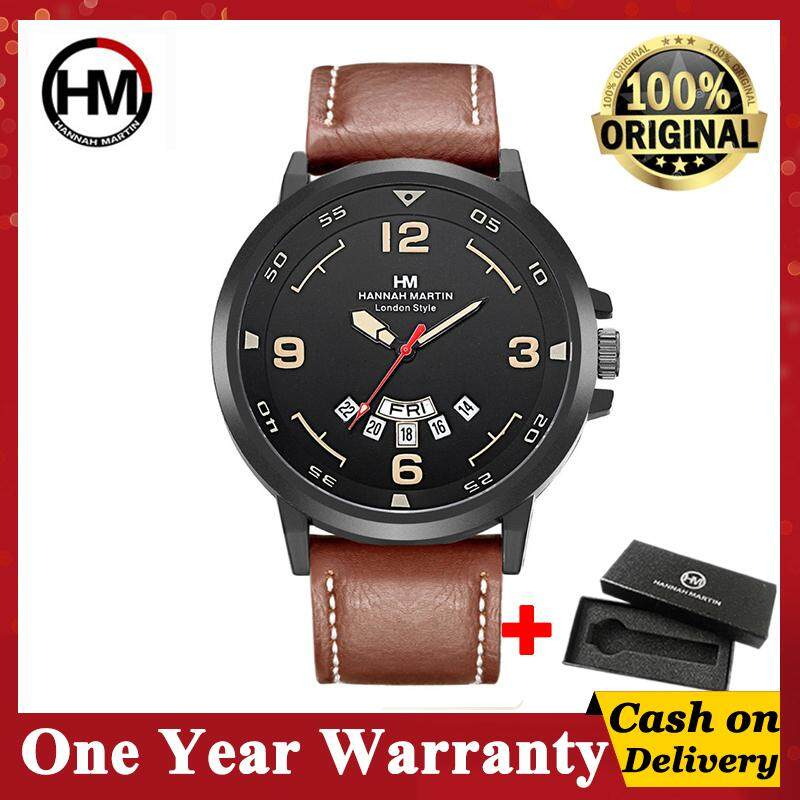 HANNAH MARTIN Sport Watch Fashion Leather men's Casual Business Quartz Waterproof Watches (Use CASIO movement