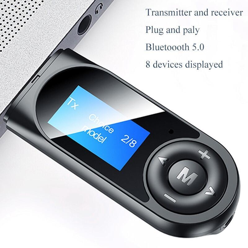 Bộ Chuyển Đổi Bluetooth 5.0 Màn Hình Kỹ Thuật Số LCD T13 Bluetooth Thu Phát Cuộc Gọi Rảnh Tay, Bộ Chuyển Đổi Âm Thanh Nổi Cho Xe Hơi Cho TV PC USB 3.5MM AUX RCA Không Dây