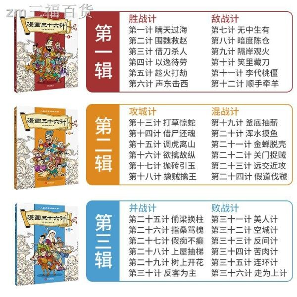 Cartoon 3 Ten Six Book Full Set Of 3 Chinese With Ring Painting History