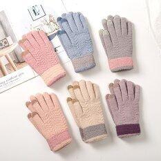 Găng tay dệt kim mùa đông thời trang Găng tay nữ màn hình cảm ứng dày ấm Full Finger Găng tay ngoài trời