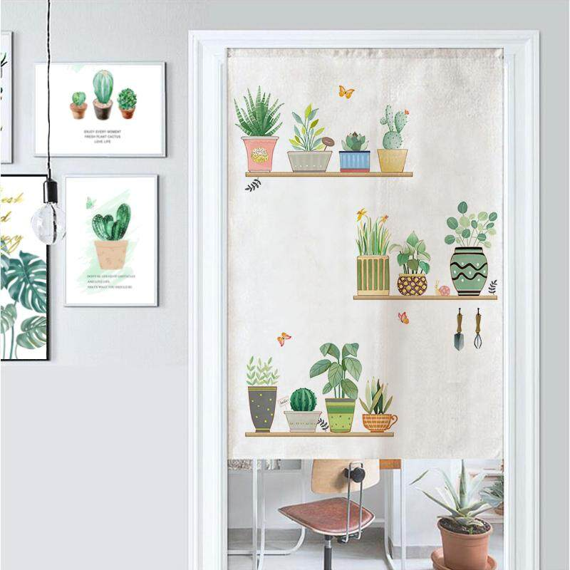 Nordic green plants Bedroom living room decorative partition long Door curtain fabric bedroom Print cute Door curtain kitchen short Door curtain with rod