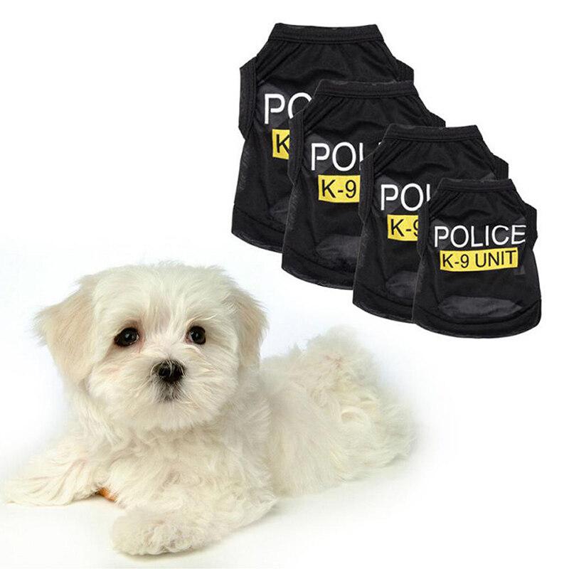 Dog Cat Vest Black Elastic Police Cosplay Puppy T-Shirt Coat Apparel Costumes Pet Clothes