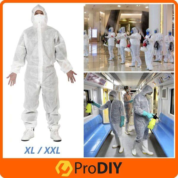 50G Disposable Protective Isolation Clothing Coverall Disinfection Work Unisex With Hood Baju Influenza Virus Cleaning