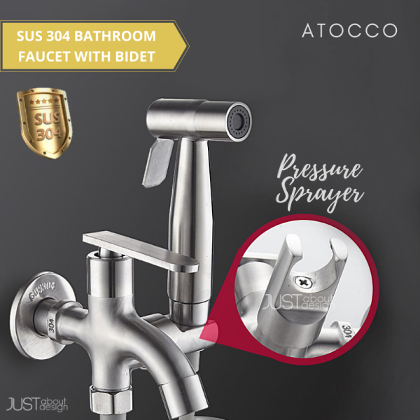 🔥 Ready Stock 🔥 FULL SET 304 Stainless Steel Two Way Tap Bathroom Faucet with Bidet Spray Holder and Flexible Hose