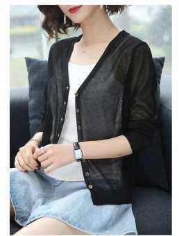 2019 ฤดูใบไม้ร่วงใหม่น้ำแข็ง Cardigan เสื้อผู้หญิงเกาหลีสีทึบ Beige Basic Tops Hollow Sun Protection เสื้อผ้าถักผ้าคลุมไหล่ YF01371