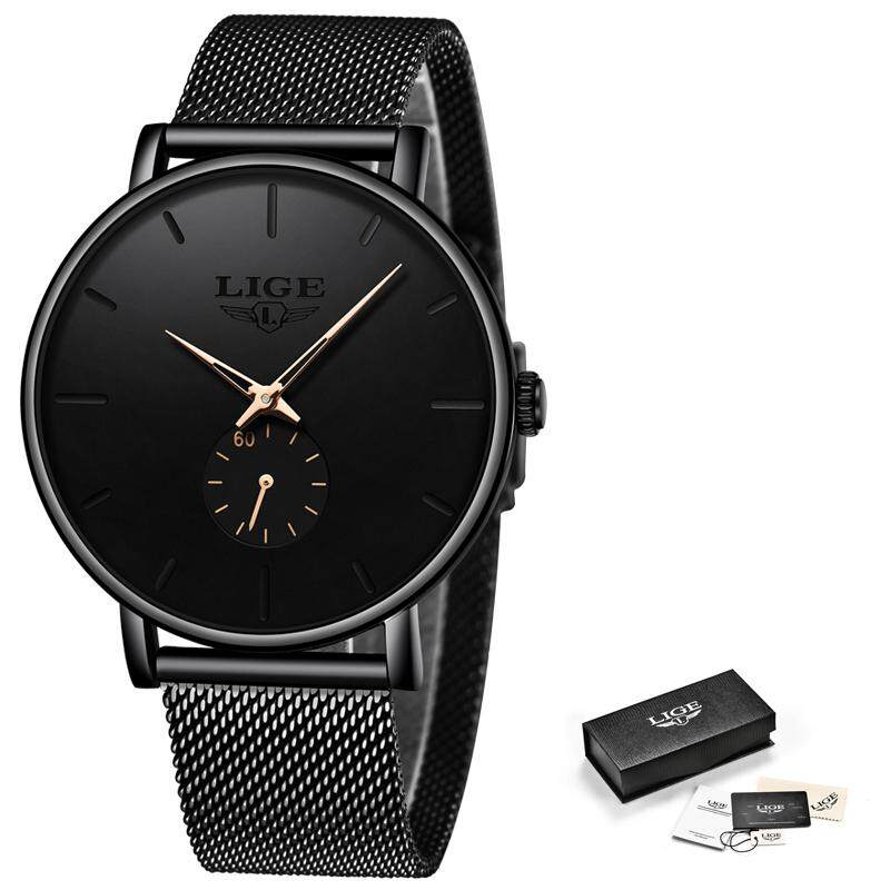 542eebab0 LIGE Mens Watches Black Ultra Thin Waterproof Stainless Steel Watch for Men  Fashion Analog Quartz Wrist
