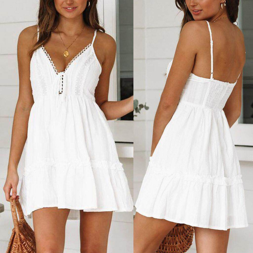 6e5ff2ced9 Fashion Womens Sexy Backless Sleeveless V-Neck Lace Hollow Out Camis Mini  Dress
