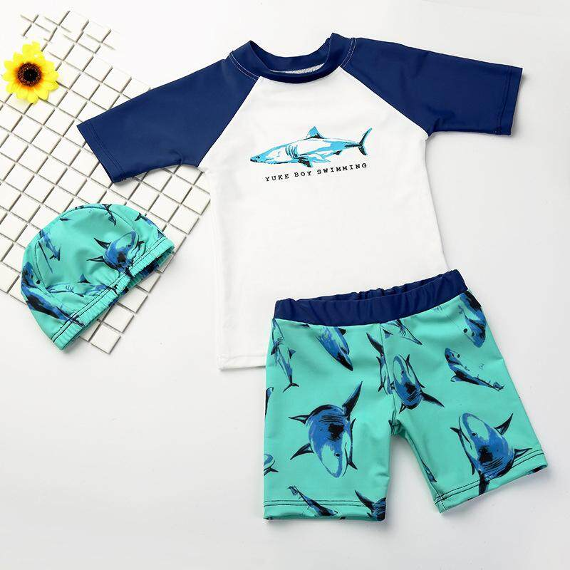 81a91e621 Children's Swimwear Boy Split Bathing Suit Quick-drying Children Boy  Swimsuit Swim Cap Set