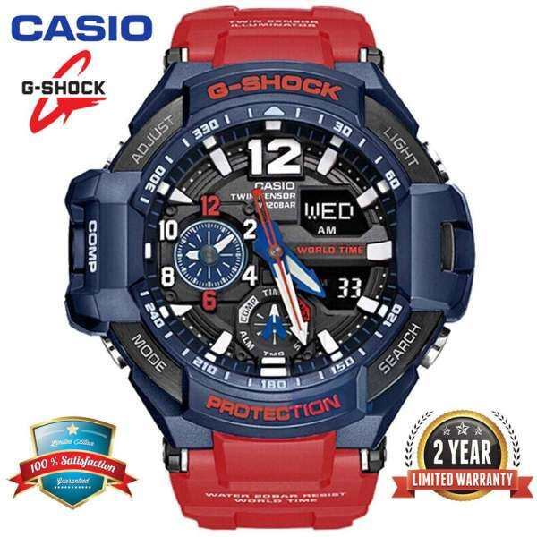 Original G Shock GA1100 Men Sport Watch Dual Time Display 200M Water Resistant Shockproof and Waterproof World Time LED Auto Light Compass Thermometer Sports Wrist Watches with 2 Years Official Warranty GA-1100-2A Black Red (Ready Stock) Malaysia