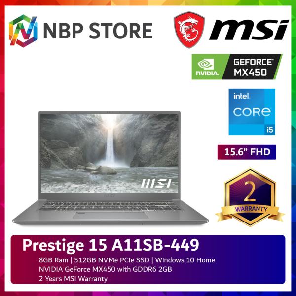 MSI Prestige 15 A11SB-449 15.6 FHD Laptop Urban Silver ( i5-1135G7, 8GB, 512GB SSD, MX450 2GB, W10 ) Malaysia