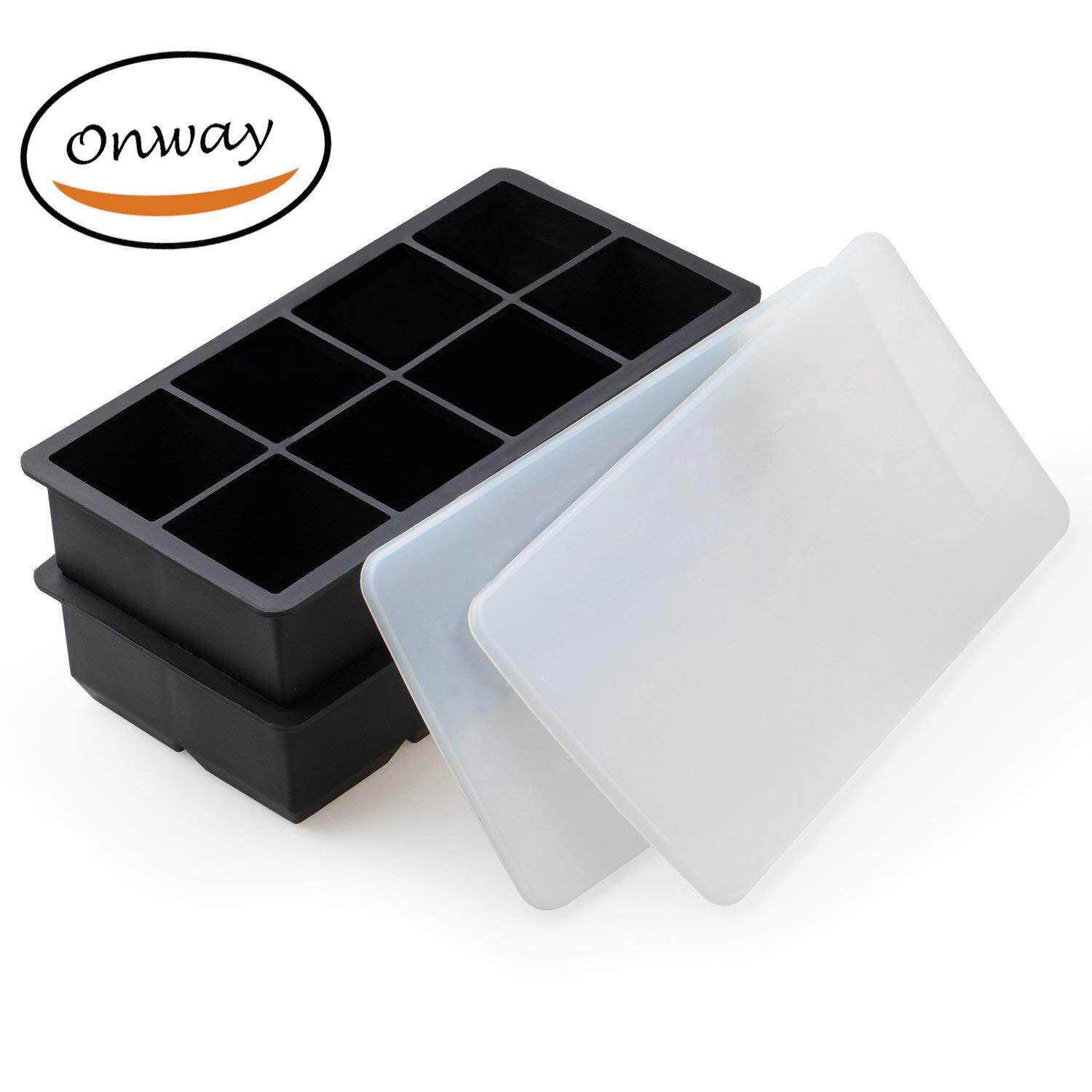 Ice Cube Tray With Lids 2-Inch Large Size Silicone Flexible 8 Cavity Ice Maker For Whiskey And Cocktails, Keep Drinks Chilled (2pc/pack) By Onway.