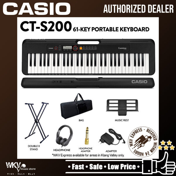 Casio CT-S200 61-Keys Casiotone Keyboard with Keyboard Bag, Stand, Headphone Headphone Adapter - Black (CTS200 /CT S200) Malaysia