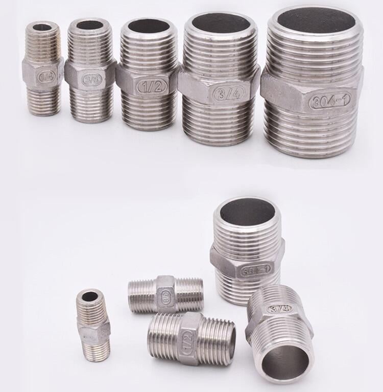 BSP Male to Male Hex Nipple Threaded Reducer Pipe Fitting Stainless Steel 304