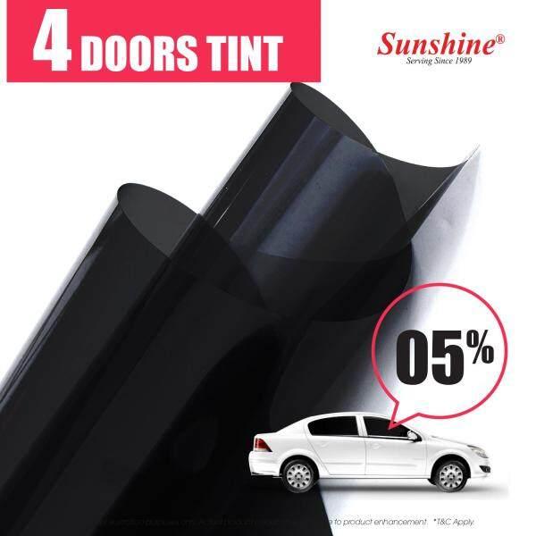TINTED FILM FOR CAR (22  X 60  X 2PCS) SMOKE FILM 4 WINDOWS TINT(Black Film / 4 DOORS TINT /  Front Side Windows + Rear Side Windows  / 1Ply / Car /  Auto / Standard Size Car / Anti-UV)  (56CMX152CMX2PCS )