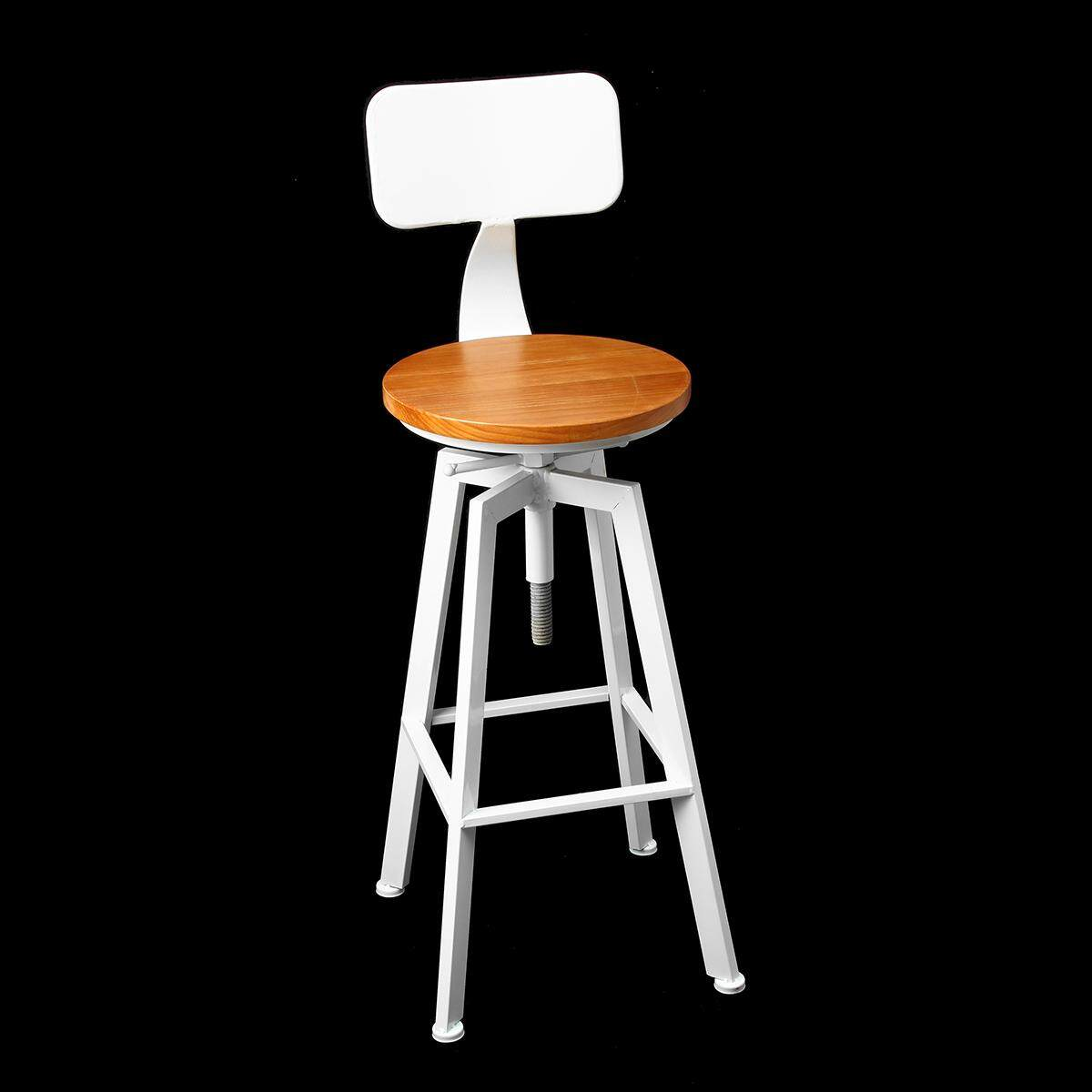 Adjustable Bar Chairs Wood Iron Stool Retro Industrial 360 Degree Rotating Lift
