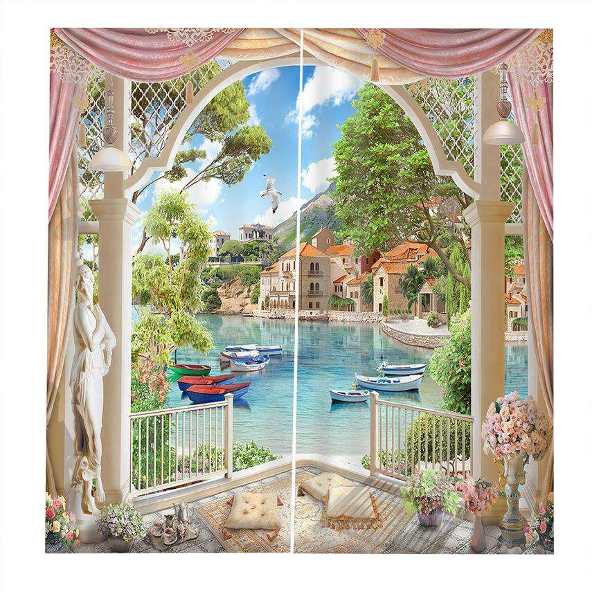 CELE Lakeside curtain window curtain UV-proof Bedroom Curtains Washable Decorative Perfect Screening Home room Decorations