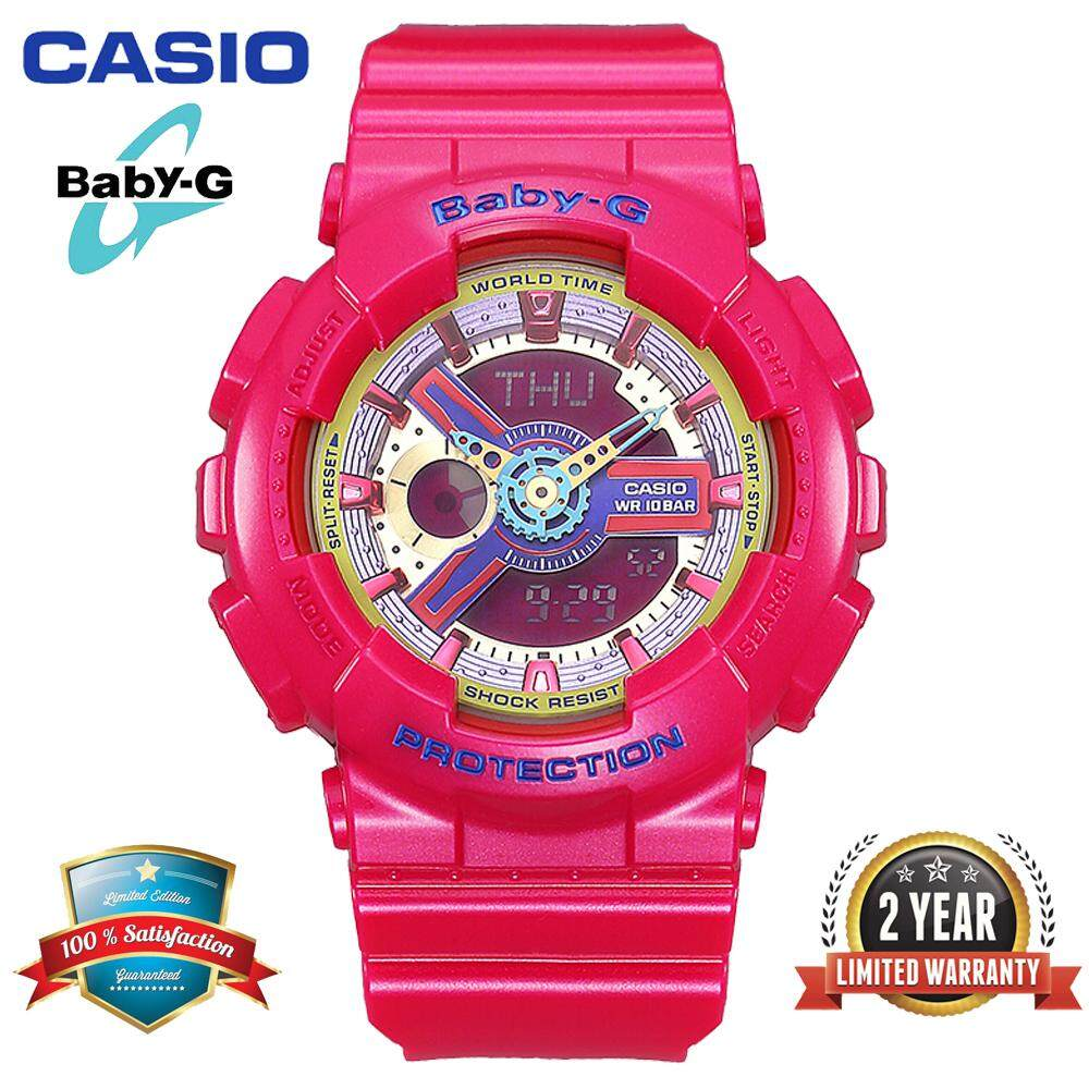 (Ready Stock)Original Casio Baby G_BA-112-4A Women Sport Digital Watch Duo W/Time 200M Water Resistant Shockproof and Waterproof World Time LED Light Girl Wist Sports Watches with 2 Year Warranty BA112-/BA-112 Pink Malaysia