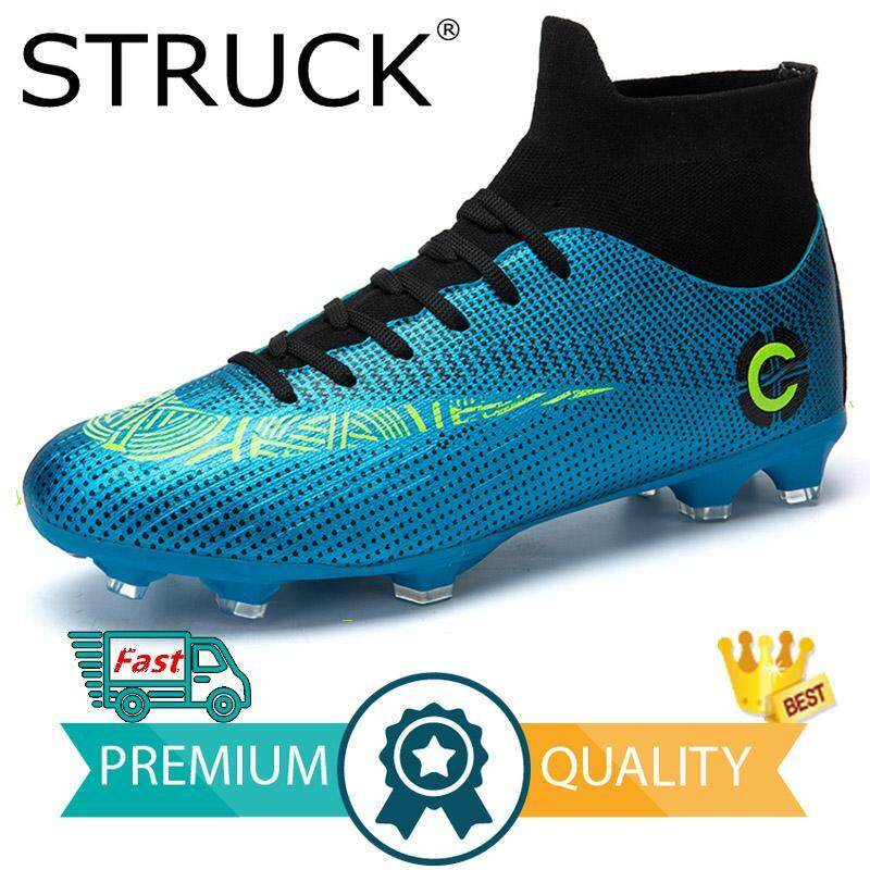 e9effdf3c STRUCK New Adults Men's Outdoor Soccer Cleats Shoes High Top TF/FG Football  Boots Training