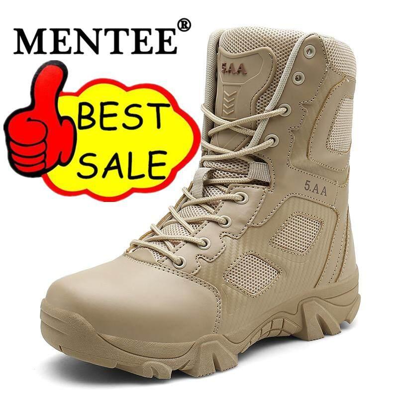 Mentee Ukuran 39-47 Pria Sepatu Bot Tempur Gurun Sepatu Bot Militer Outdoor Sepatu Mendaki Pria Sepatu Bot