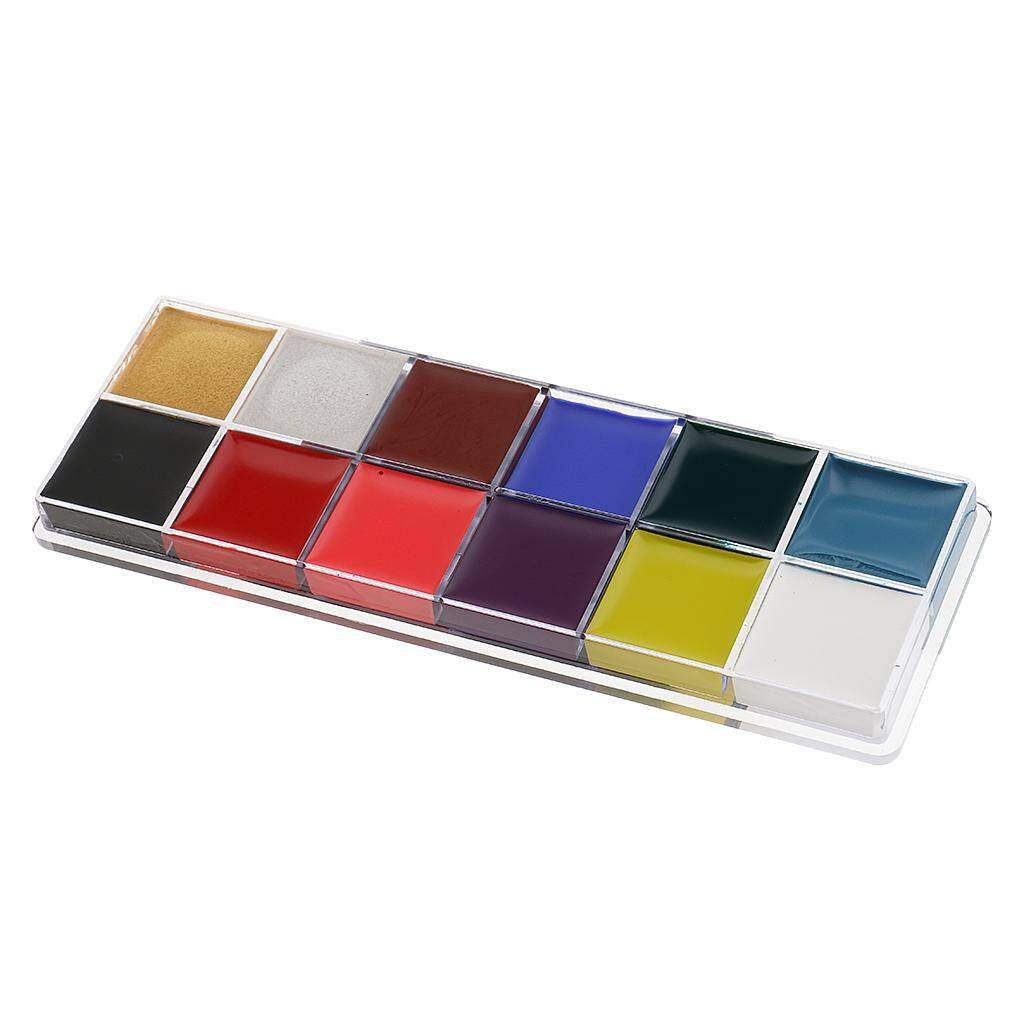 Fenteer 12 Classic Colors Face Body Paint Palette Halloween Party Fancy Dress Makeup