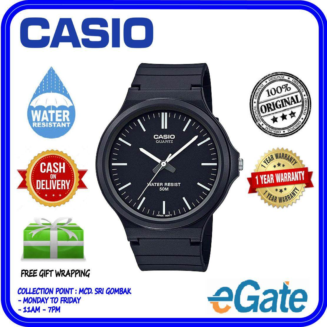 ( 2 YEARS WARRANTY ) Casio MW-240-1E Men Analog Large Case Easy-Read Classic Black Strap Original Casual Watch (MW-240) Malaysia