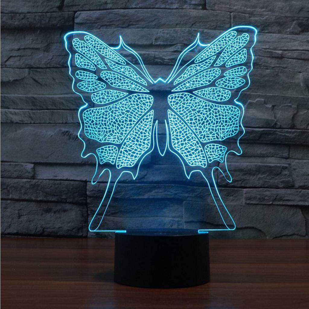 Perfk Butterfly Illusion 3D LED Night Light 7 Color Touch Switch Desk Lamp Decor