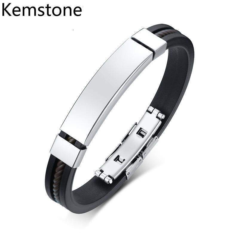 767bdfafe Kemstone Fashion Black Silicone Bracelets Stainless Steel Button Charm Links  for Men