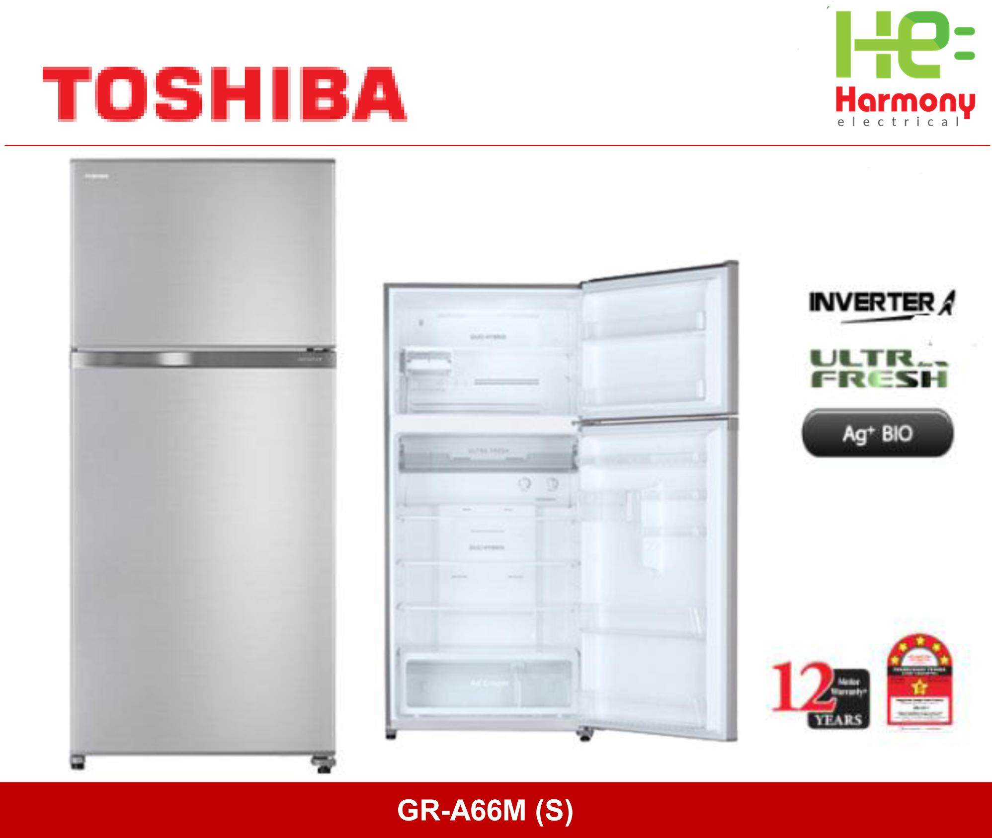 New : Toshiba 661L 2 Doors Inverter Refrigerator With Ag+ BIO GR-A66M (S) ( 12 years Compressor Warranty ) (Peti Sejuk)
