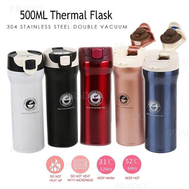 PRADO Malaysia Double 304 Stainless Steel 500ML Thermo Water Coffee Tea  Bottle Thermal Flask Vacuum 006 Thermos Tumbler