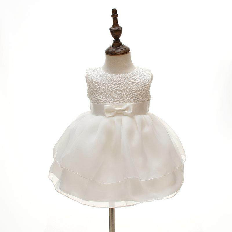 4a3109b5d8 Newborn Baby Girls Princess Birthday Party White Formal Christening Gown  Dress with Bow Dresses for 0-24 Months
