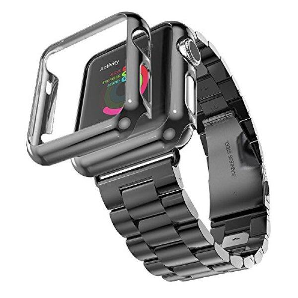 Compatible with Apple Watch Band Series 1/2/3/4、, Stainless Steel Strap Band w/Adapter Case Cover Compatible for iWatch 40/44mm Malaysia