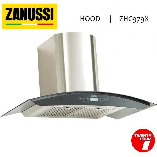 ZANUSSI GLASS CHIMNEY HOOD 90CM BLACK CURVED ZHC979X