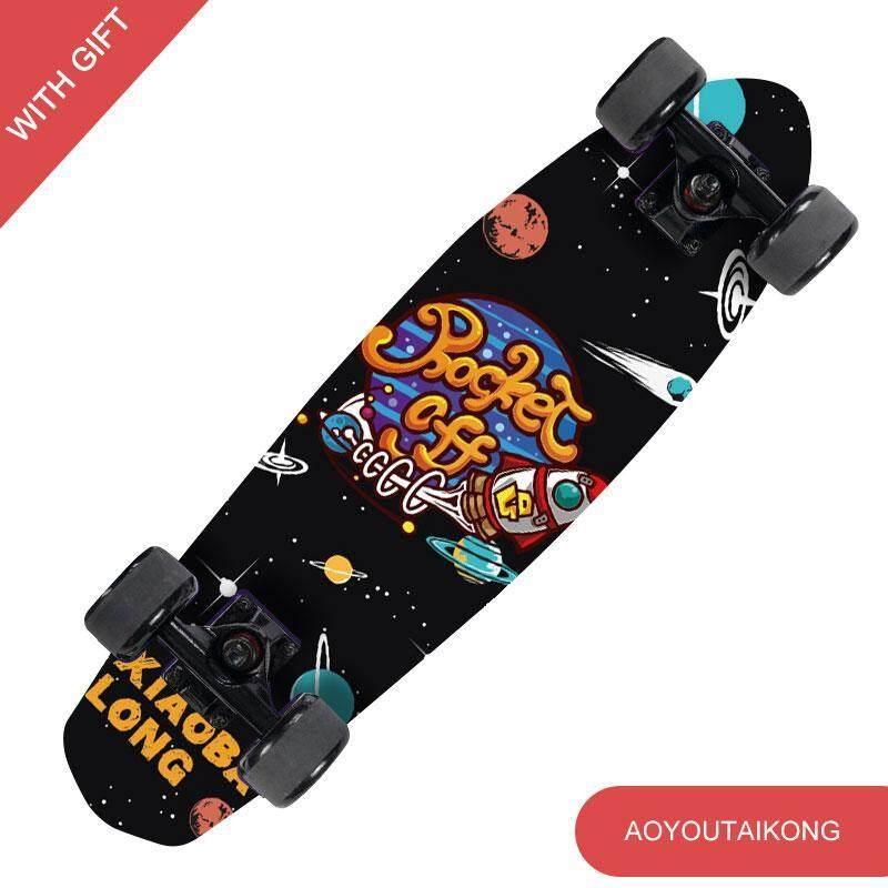 26 inch Dài Bà Marple Cá Ván Trượt Trượt Ván 4 Bánh Xe Đường Phố Chuối Dài Skate Board Mini Tàu Tuần Dương Cá Ban