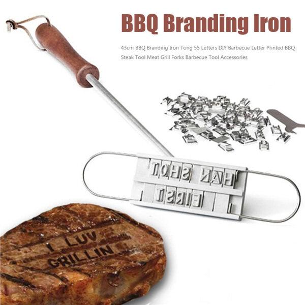 Chữ Ký DIY Có Thể Thay Đổi Với 55 Chữ Cái Tên Bít Tết Nhãn Hiệu Sắt Đánh Dấu Công Cụ BBQ Phụ Kiện Thịt Nướng