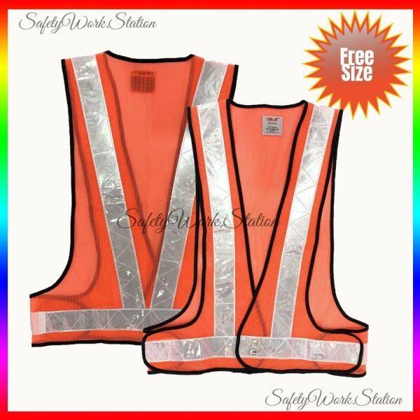 Safety Vest Netting V Shape Orange with White Reflector